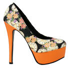 Elegant Black Floral Colock Platform Stiletto Platform Pumps Size 4/5/6/7/8/9/10