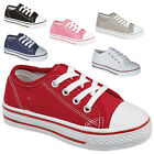 BOYS GIRLS KIDS CHILDRENS CANVAS CASUAL SHOES PUMPS TRAINERS LACE UP PLIMSOLLS