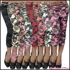 Women's Camouflage Shorts Sexy Ladies Cropped Capri Pants Size 8,10,12,14 UK