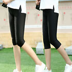 Black Women's shiny nylon 3/4 pants thin large yard stretch leggings tight pants
