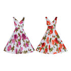 40's 50's Style Vintage Rose Print Floral Cotton Bridesmaid Party Tea Dress 8-20