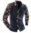 Men's Floral Color Stitching Long-Sleeved Shirt