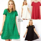 Women's Cocktail Lace Short Sleeve Hollow Out Casual Dresses Floral Party Dress