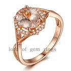 Oval Cut VS 6x8mm Morganite H/SI Diamonds Unique 14K Rose Gold Engagement Ring