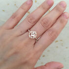 Vintage Floral Morganite Engagement Ring Scalloped Halo Diamond Wedding Band 7mm