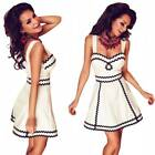 White Sleeveless Little Skater Dress Casual Summer Cocktail Party Clubwear
