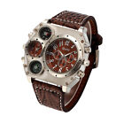 Quartz Sport Military Stainless Steel Dial Leather Band Wrist Watch Men J