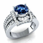 3.10 Ct Blue Sapphire Round 925 Sterling Silver Bridal Engagement Wedding Ring