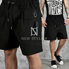 NewStylish mens bottoms pants D-ring accent cargo pocket black shorts