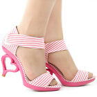 Lady Black/Pink White Stripe D'Orsay Bride Wedding Sandals Size 4/5/6/7/8/9/9.5