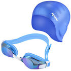 Ipow Adults Silicone Swim Cap and Anti-fog Goggles Mask Waterproof Mirrored Seal