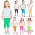 Cropped Children 3/4 Cotton Leggings Basic Plain Kids Capri Pants Age 2 - 13