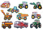Kids Boys DUMPERS TRACTORS & DIGGERS Iron Sew On Patch T Shirt Transfer Craft