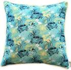 Cushion Cover - Tropical Kombi Hybiscus Print teal blue yellow square 60cm 45cm