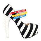 Black White Stripe 3 Strap Platform Bone Heel Mary Jane Pump Size 4/5/6/7/8/9/10