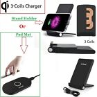 3 Coils Qi Wireless Charging Charger Stand Holder/Pad For Samsung Galaxy S7/Edge