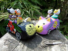 Fair Trade Hand Carved Carving Made Wooden Animal Cat Car Ornament Statue