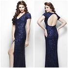 Primavera Couture 9928 Shimmering short-sleeved evening gown navy blue autentic