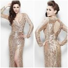 NWT PRIMAVERA COUTURE 9924 LONG SLEEVE  BEADED GOWN V-NECK WITH SLIT PAGENT $489