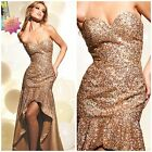 NWT TERANI COUTURE P648 GOLD HIGH-LOW SEQUIENED GOWN $498 AUTENTIC $189 SZ10,12