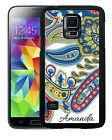 PERSONALIZED RUBBER CASE FOR SAMSUNG S4 S5 S6 GALAXY WHITE BLUE PAISLEY