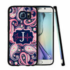 PERSONALIZED RUBBER CASE FOR SAMSUNG S6 S7 EDGE PLUS NAVY PINK PAISLEY