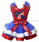 Twin America Heart 4th July Red Top BWR Satin Trim Skirt Girls Outfit Set NB-8Y