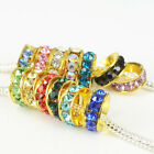 Hot Fashion Quality Crystal Golden Spacer Charms European Beads Fit DIY Bracelet