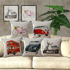 Pillow Case Cotton Blend with RetroTaxi Pattern Sofa Cushion Cover Home Decor