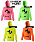 ICE SKATES SKATER HOODY Electric Pink, Green, Orange or Yellow PERSONALISED FREE