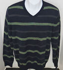 Banana Republic Men's Navy Striped Merino Wool V-Neck Sweater Size S