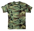 T-SHIRT WOODLAND CAMO POLY COTTON BLEND MENS steeswing (army bdu navy) S TO 7X