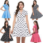 Women's V Neck Vintage Style 40s 50s Evening Party Swing Pin up Girl Short Dress