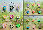 WINE GLASS CHARMS SINGLE OR SETS FLOWERS HIBISCUS DAISY