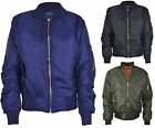 Girls Boys Kids Plain MA1 US Air Pilot Zip Up Biker Bomber Padded Jacket Coat