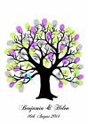Personalised Love Bird Tree Fingerprint Guest Book available in A4 A3 & A2 sizes
