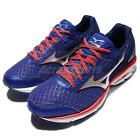 Mizuno Wave Rider 19 2E Super Wide Blue Red Black Mens Running Shoes J1GC1604-91