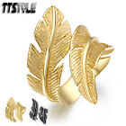 Womens TTstyle 316L Stainless Steel Feather Cuff Ring NEW Arrival