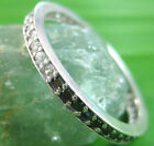 925 sterling silver Round White Black Cz Full ETERNITY Wedding Band Size R / 9us