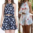Sexy Women Floral Short Sleeve T-shirt Crop Top And Shorts Two Piece Sets ES9P