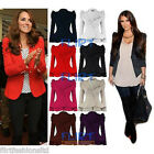 Womens Jacket Puff Shoulder Celebrity Blazer Button Coat Peplum Frill Shift Top