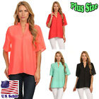 (Plus Size) Blouse Solid Color Notched Neckline Wide Sleeves Tops B2110 SD_M