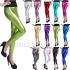 Women's Sexy Shiny Metallic Leggings Liquid Wet Look Stretch Tight Fit Pants