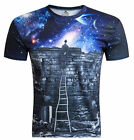 Popular 3D Print Funny Women Men T-Shirts Men Towards Starry Sky Tee Top M-4XL