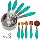 Chef U Measuring Cups and Spoons - Set of 10 Pieces - Stainless Steel, Soft Grip