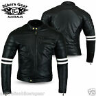 Bikers Gear Motorcycle Jacket Black/White Matt Leather Armour Cafe Racer