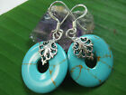 925 sterling silver synthetic blue turquoise round flat open filigree earrings