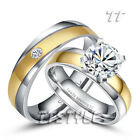 TTstyle Gold Stripe Stainless Steel Engagement/Wedding Band Ring Set For Couple