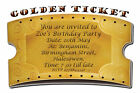 Personalised Golden Ticket Birthday Party Invitations