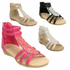 Girls Kids Children Gladiator Summer Beach Party Sparkly Diamante Sandals Shoes